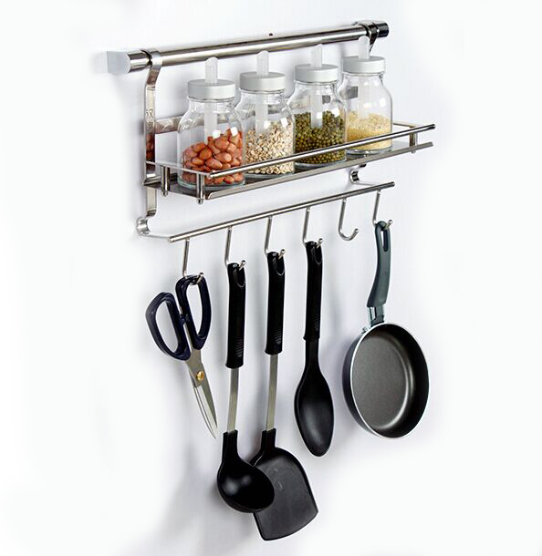 18 8 de acero inoxidable ganchos para ollas y sartenes de cocina multifuncional estante montado - Ganchos para estanterias ...