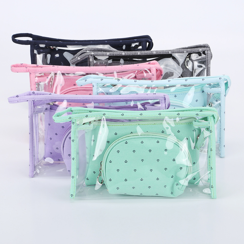 <font><b>3</b></font> <font><b>Set</b></font> Casual Women <font><b>Travel</b></font> <font><b>Cosmetic</b></font> <font><b>Bag</b></font> PVC Leather Zipper Make Up Transparent Makeup Case Organizer Storage Pouch Toiletry <font><b>Bags</b></font> image