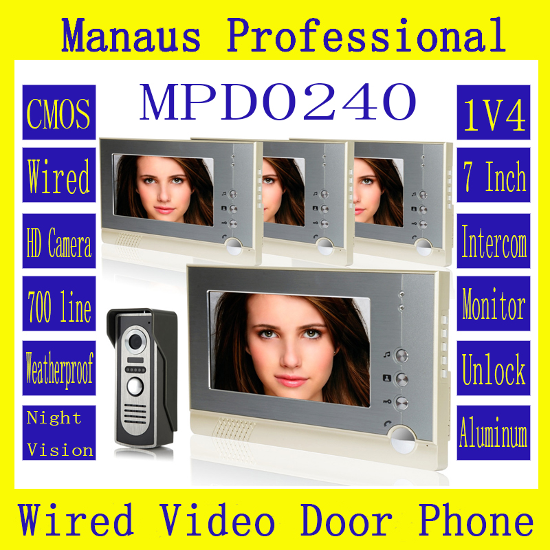 Professional 7 inch Wired Video Door Phone Door bell for Home Security IR Camera,One to Four Video Doorphone Doorbell D240a 7 inch video doorbell tft lcd hd screen wired video doorphone for villa one monitor with one metal outdoor unit night vision