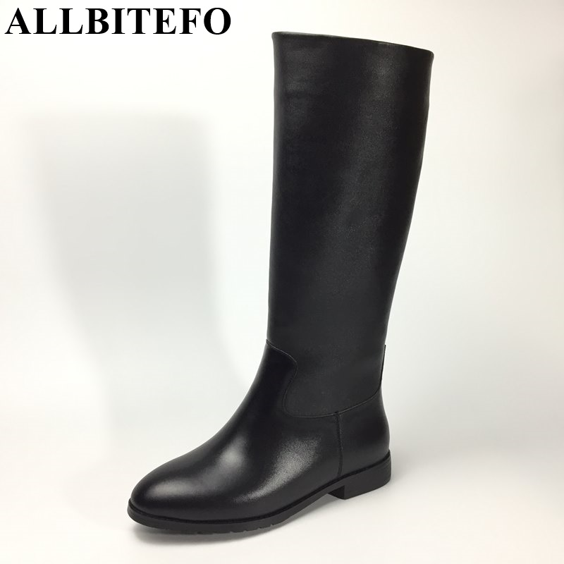 ALLBITEFO large size:34-43 genuine leather+pu low-heeled winter snow boots fashion brand thick heel warm knee high boots цена 2017