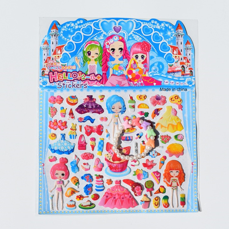 New Korea Cute Stationery Cartoon Random One Piece Bubble Princess Sticker Pvc DIY Dress Up Pretty Girls Games Puffy Lot