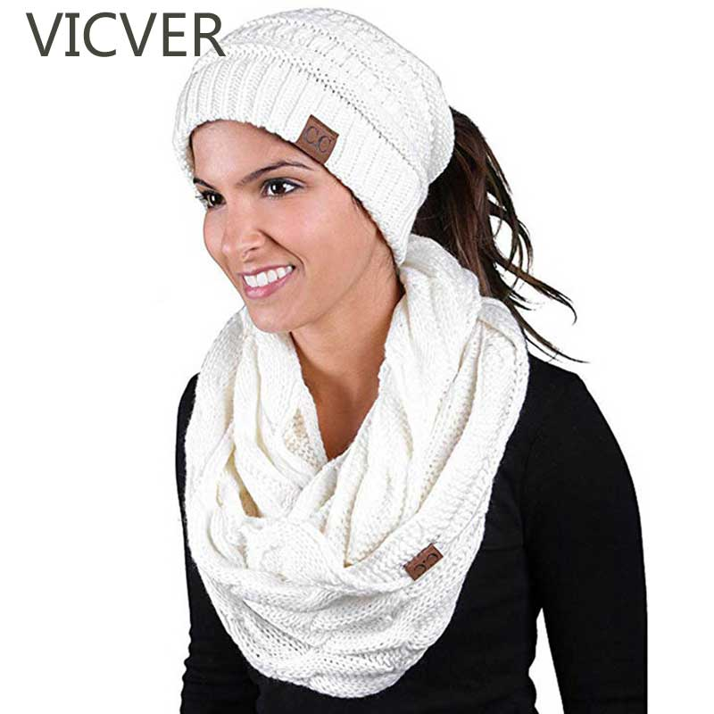 Hot Sale Scarf And Hat Sets Cc Ponytail Beanie Winter Cap Women