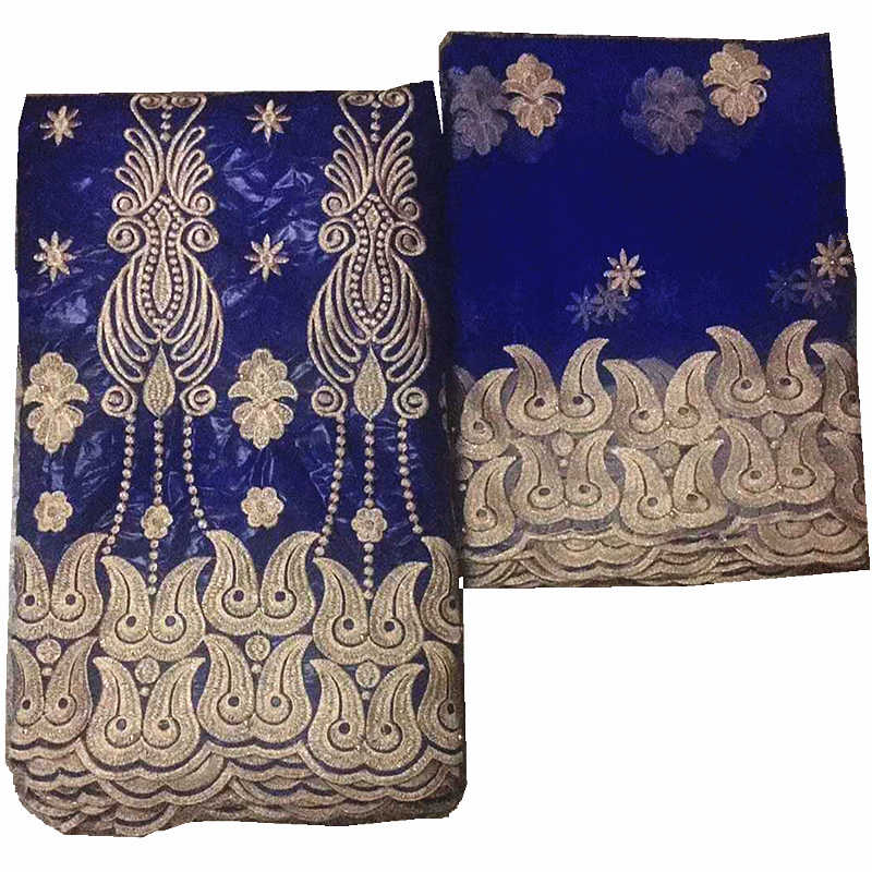 Blu bazin riche tessuto con perline tessuti africani bazin jacquard Guinea Broccato con pizzo francese per il vestito delle donne