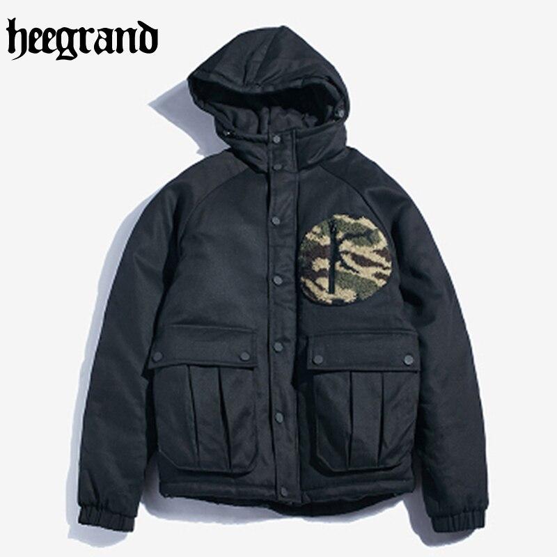 HEE GRAND 2017 Fashion Style Lambswool Camouflage Stitching Cotton Jacket Men Black M~2XL MWM1760