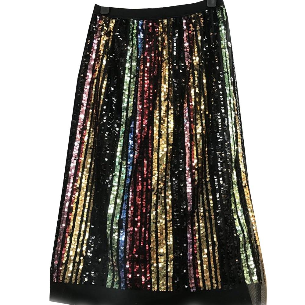 Sequin Bling Bling Half Skirt Rainbow Pleated Elastic Waist Skirts Runway  Glitter Shine Hologram Women 93d5e0577ebc