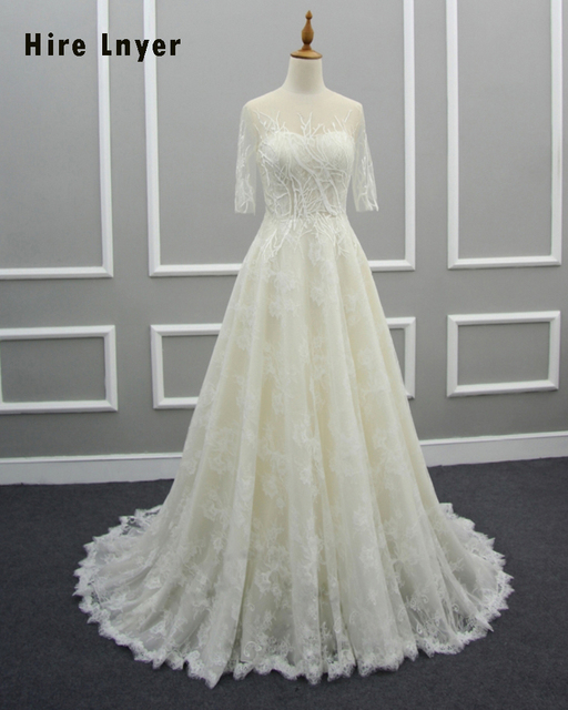 HIRE LNYER Custom Made Button Up Half Sleeve Lace Wedding Dress ...