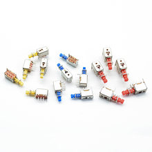 10pcs Right Angle PCB Latching Push Button Switch DPDT Double Pole 6 Pin self-locking key power switches red blue yellow A03/04(China)