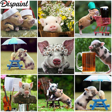 Dispaint Full Square/Round Drill 5D DIY Diamond Painting Animal pig flower 3D Embroidery Cross Stitch Home Decor Gift