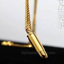 Bala de oro pareja de los 60 cm alta calidad Hiphop moda 18 k chapado en oro declaración collar con cadena larga hombres joyería nuevo 2016