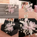 Pink Flower Bridal Hair Clip Pin Crystal Rhinestone Pearl Comb Wedding Accessories Handmade Tiara