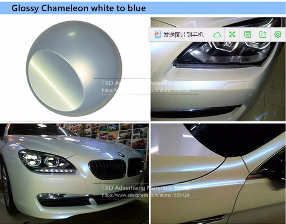 Image 4 - Free Shipping Premium Glossy Chameleon pearl white vinyl sticker with Bubble Free Air Release DIY Wrap Chameleon white wrap film-in Car Stickers from Automobiles & Motorcycles