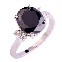 lingmei New Sexy Lady Black Spinel White Topaz  Silver Ring Size 6 7 8 9 10 11 12 Women Jewelry Rings Free Shipping Wholesale