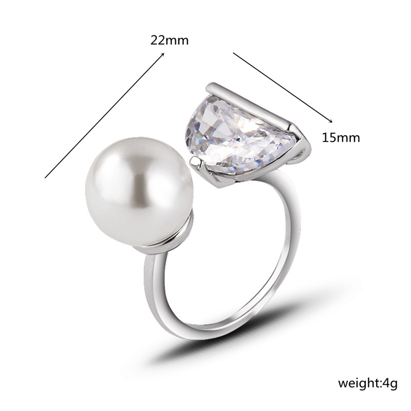 2019 romantic White Gold Color copper women ring High quality zircon Simulated big Pearl Wedding open Rings For Women J02794 in Rings from Jewelry Accessories