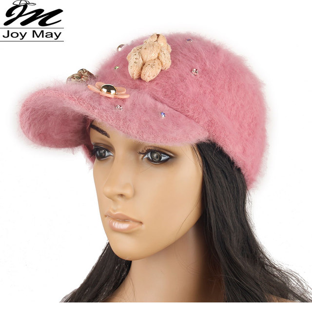 2015 New fashion winter cap diamante Rhinestone warm fur cap Leisure Fake hair baseball cap for women lady girl  W200