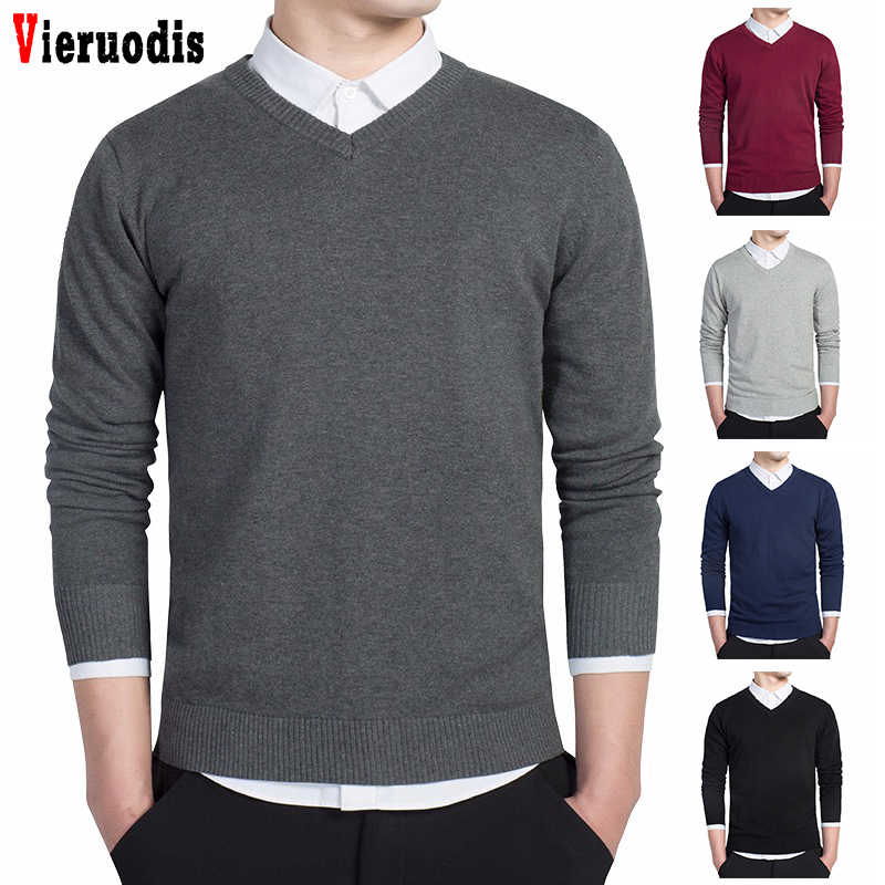 quality 2018 high-grade v-neck knit shirt male pure cotton Set head knitted Solid Color sweater Autumn Winter Male leisure slim