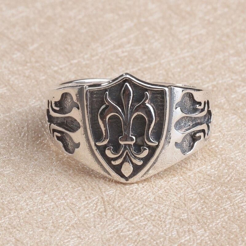 Элегантный Королевский fluer-де-лис манжеты кольцо Для мужчин Для женщин в 100% Настоящее Твердые стерлингового серебра 925 Винтаж в стиле панк Д...