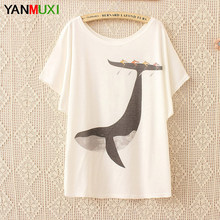 7aeb51a8 New Design Harajuku Cartoon Whale Print T Shirt Women Top 2017 Cotton Summer  Batwing Sleeve White