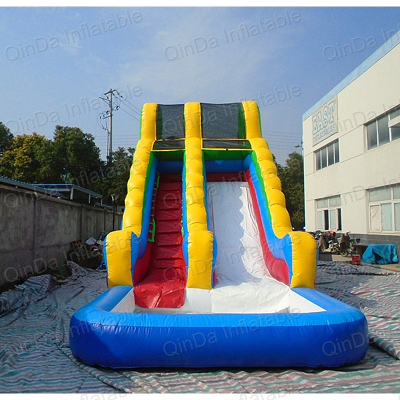 Commercial inflatable water slide with pool, commercial inflatable water slide for backyard children shark blue inflatable water slide with blower for pool