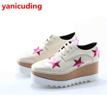 yanicuding Brand Wedge Platform Colorful Stars Glitter Design High Heel Women Student Casual Shoe Lace Up Women Pump Square Toe