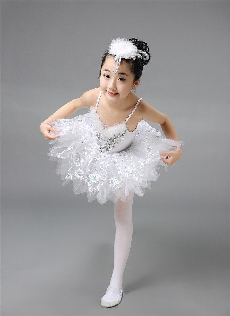 Ballet Dress&Headwear&Glove Children Elegant Classic White Swan Lake Perform Stage Dress Dance Ballet Tutu Ballet Costume