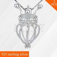 Wholesale 3pcs Crown Shaped 925 Sterling Silver Cage Pendant Fashion Women Locket Necklace Pendant