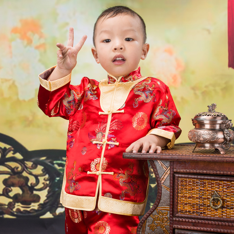 Kids Boy Chinese New Year Asian Traditional TANG Costume Vest Tops outfit Set