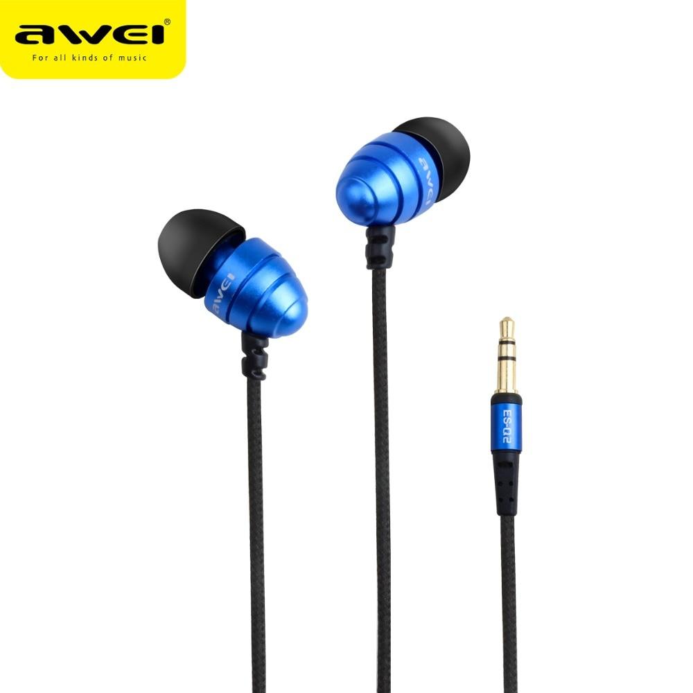 Original AWEI ES Q2 Noise Isolation Super Deep Earphone In-ear Style Earphones for Phone MP3/MP4 Players 3.5mm Jack Headset awei es10 noise isolation in ear earphones black