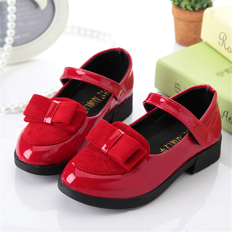Children Shoes Girls Princess Leather Shoes PU Fashion Bowknot Girls Shoes Brand Casual Flat Student Performance Shoes Kids