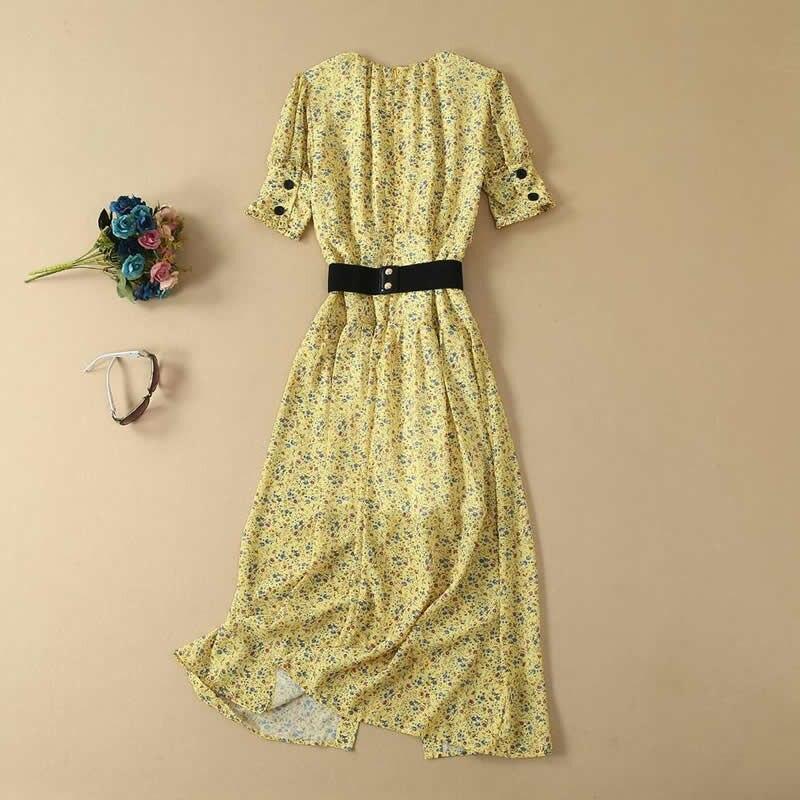 Imprimé Floral femmes longue robe mode o-cou à manches courtes a-ligne robes F6208 - 3