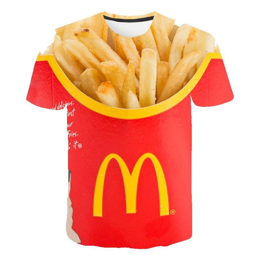 Camiseta masculina 2019 nova moda hip hop 3d burger fries fast food solto unisex verão topos t camisa solta masculina plus size 5xl