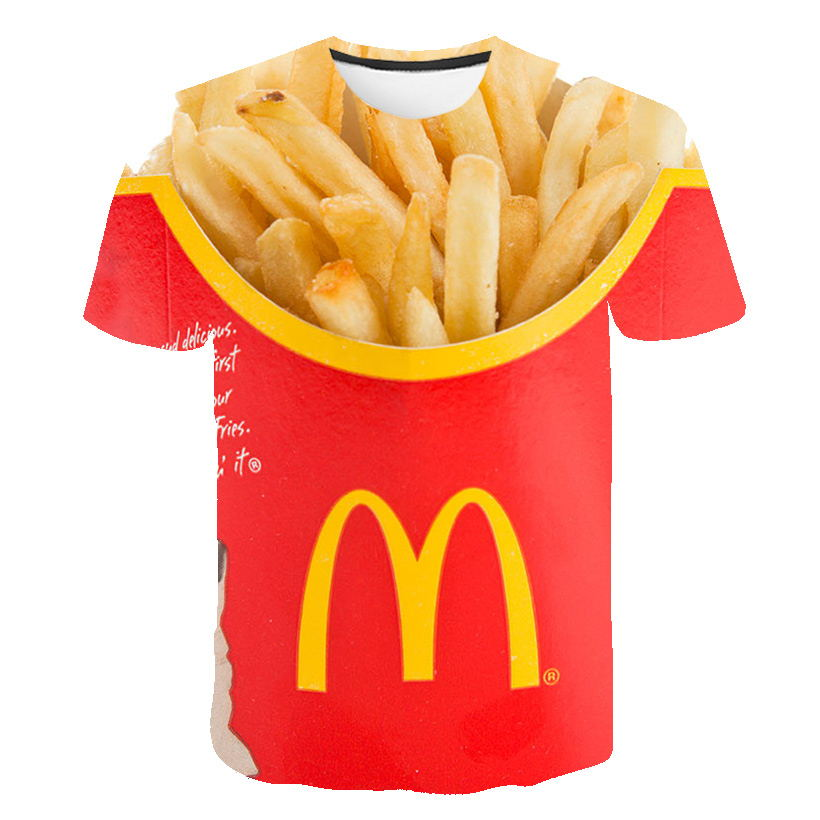 T-shirt Men 2019 New Hip Hop Fashion 3d Burger Fries Fast Food Loose Unisex Summer Tops Tees Loose T Shirt Men Plus Size 5XL