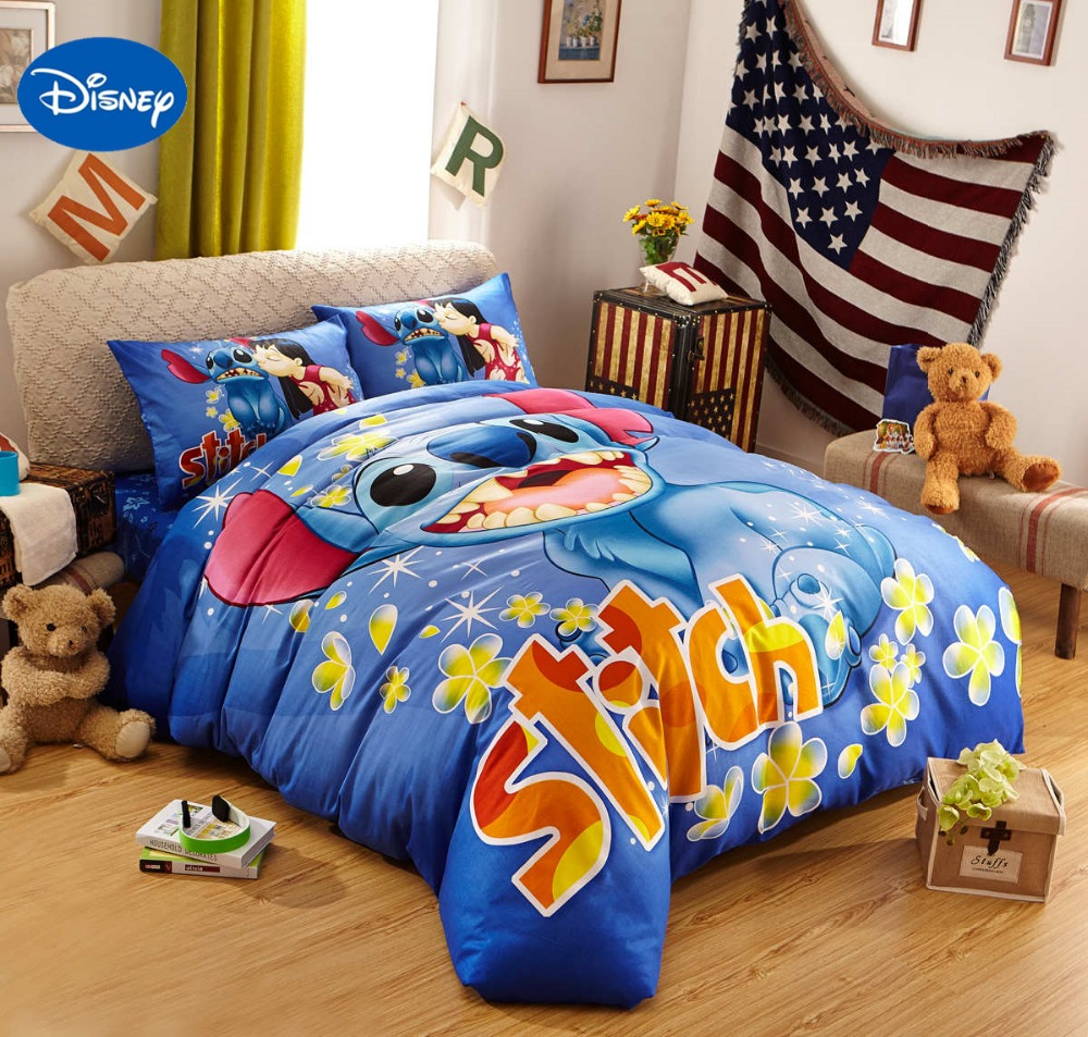 blue disney cartoon lilo and stitch bedding sets for boys bedroom decor cotton bedclothes. Black Bedroom Furniture Sets. Home Design Ideas