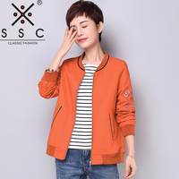 Printing Ribs Women S Bomber Jackets Plus Size 4XL 5XL Solid Color Long Sleeves Jacket Women