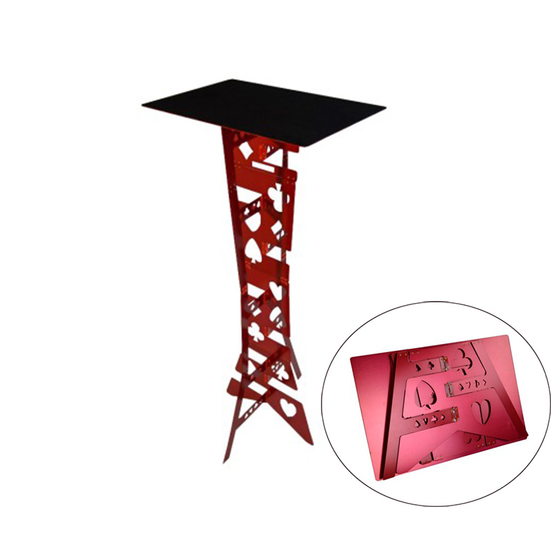 Tableau pliant magique en alliage d'aluminium-couleur rouge tours de magie magicien meilleur accessoire d'illusions de scène de Table facile à transporter
