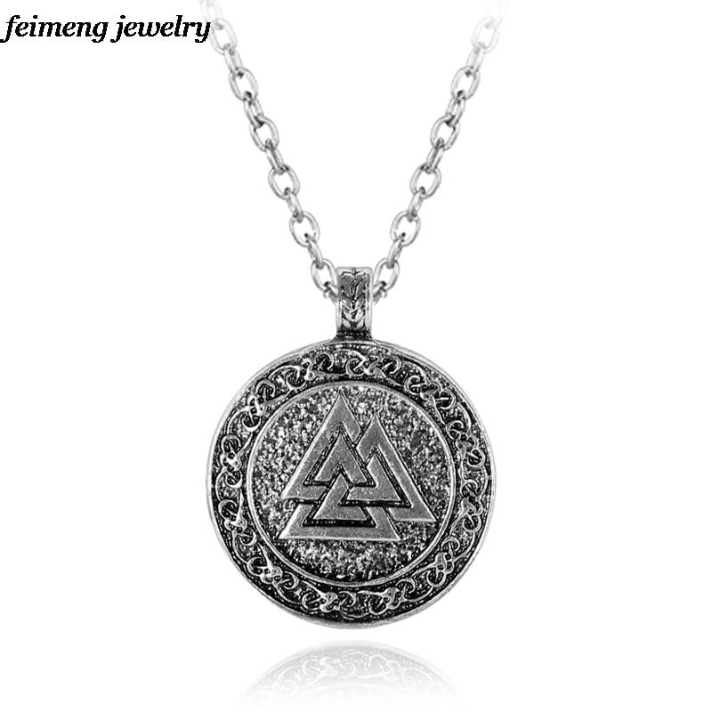 Slavic Norway Valknut Pagan Amulet Pendant Men Necklace Scandinavian Viking Jewelry Odin s Symbol of Norse Viking Warrior