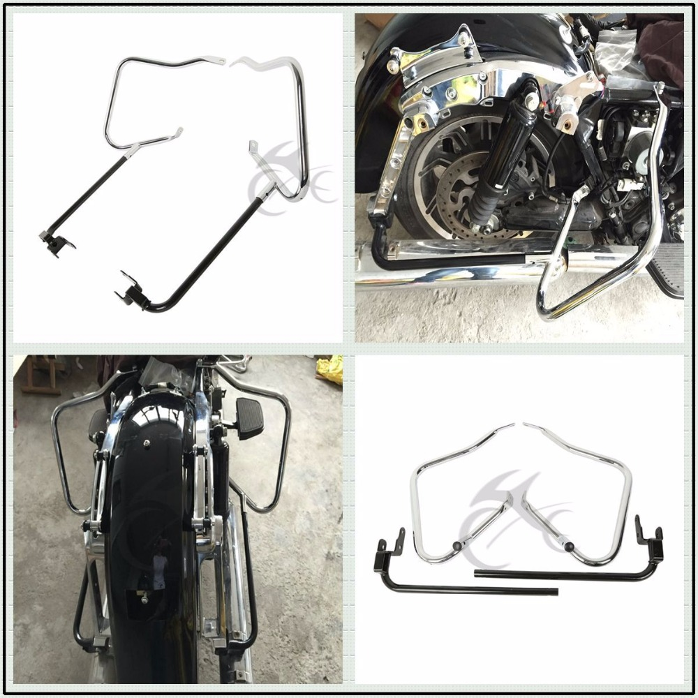Motorbike Saddlebag Bracket Guard Bars For Harley Touring Street Electra Road Glide King FLHR FLHX FLHT FLHXS FLRTX 2014-2018 black motorcycle rear view mirrors for harley flht touring flhx 2014 2016