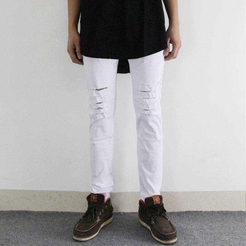 Slim Mens Biker Jeans Motosiklet yüksək küçə hip hop deşik - Kişi geyimi - Fotoqrafiya 6