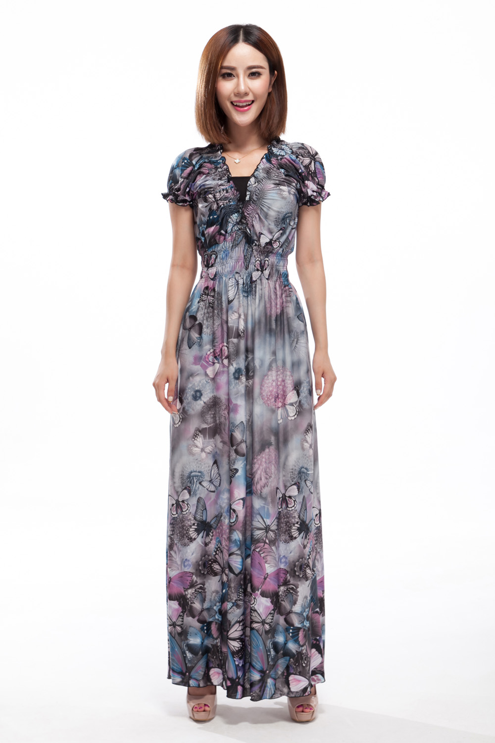 Buy Cheap Women V Neck Puff Sleeve Bohemia Maxi Dress 2017 Summer Women Ice Milk Butterfly Printed Long Chiffon Beach Dresses Plus Size