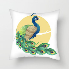 Fuwatacchi Cute Peacock Animal Cushion Cover Beautiful Peahen Pillow for Chair Opening Decorative Pillows