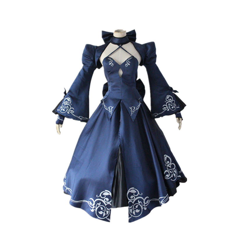 Anime Fate Stay Night Alter Saber Black Dress Cosplay Costume Fate Zero Artoria Pendragon Full Set Fancy Party Dress