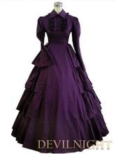 Lila classic gothic viktorianischen dress lange baumwolle frauen party  kostüme fec589b8fd