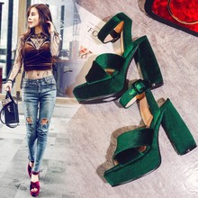 2017 Summer Newest Super Heels High Pumps Red /Green/Blue Color Thick Sole Waterproof Peep Toe Fashion Sandals Word Buckle Women