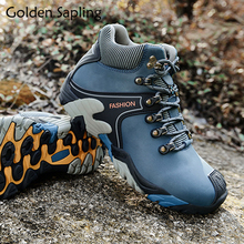 Golden Sapling Mens Hiking Shoes Winter Fur Boots Men Outdoor Sneaker Waterproof Leather Trekking Shoes Male Sport Tramping Boot