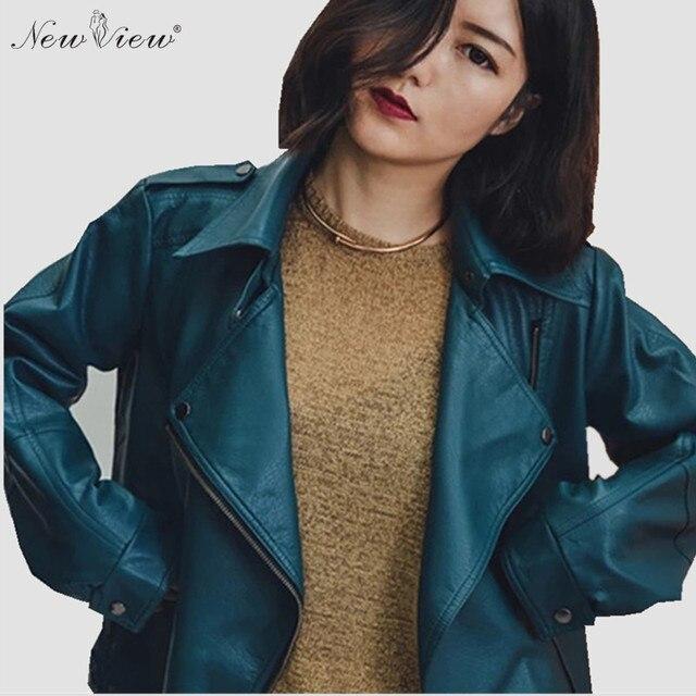 2017 Женщины Кожаная Куртка Мода Vintage Style Свободные Искусственного Кожа PU Мотоцикла Пальто Jaqueta Де Couro Feminino Негабаритных Куртка