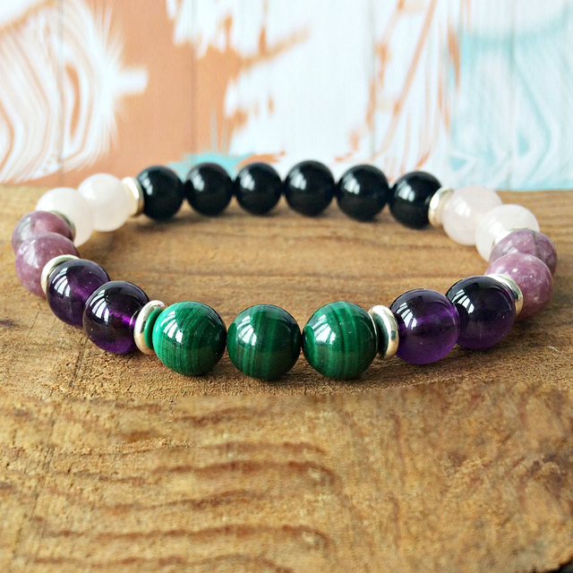 Bracelet Amethyste Malachite Quartz Rose