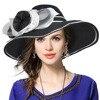 Womens Straw Floral Wide Brim Sun Hat Ladies Kentucky Derby Hat Tea Part Hat Summer Beach