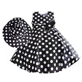 Black and Red Dot Patterm Girl Dress with Hats Summer and Spring Flower Bow Cotton Casual Kids Children Clothes 3-8T