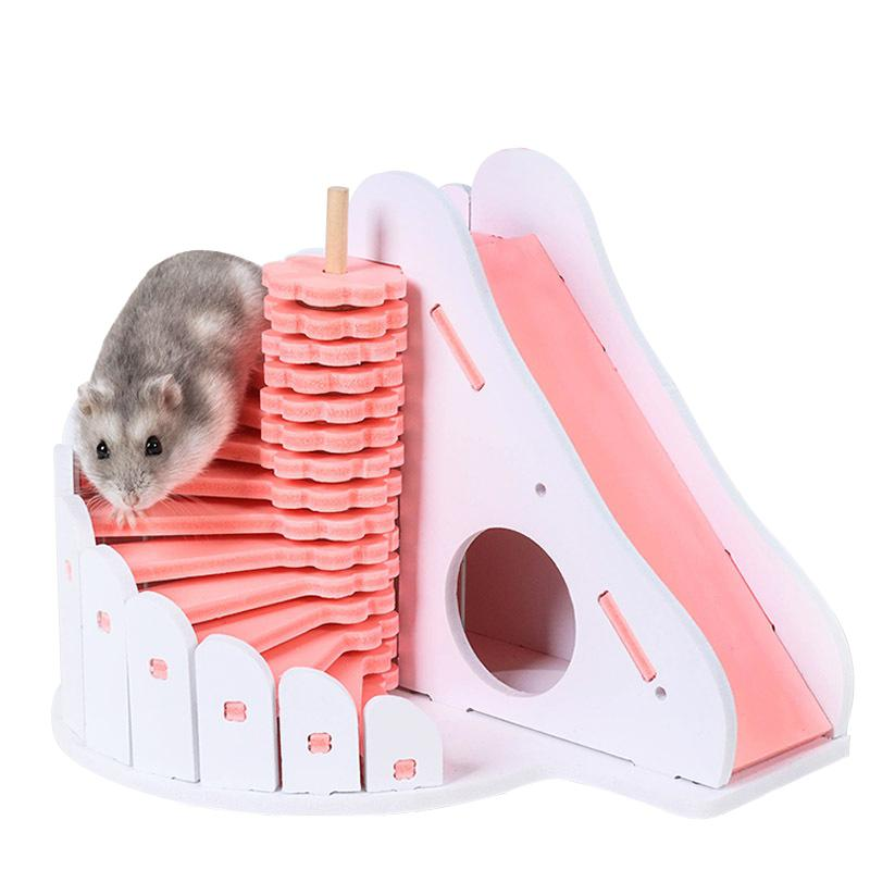 Small Animal Supplies Lanlan Wooden Pet Hamster Colorful Round Slide Balcony House Bed Cage Nest Pet Toy Home & Garden