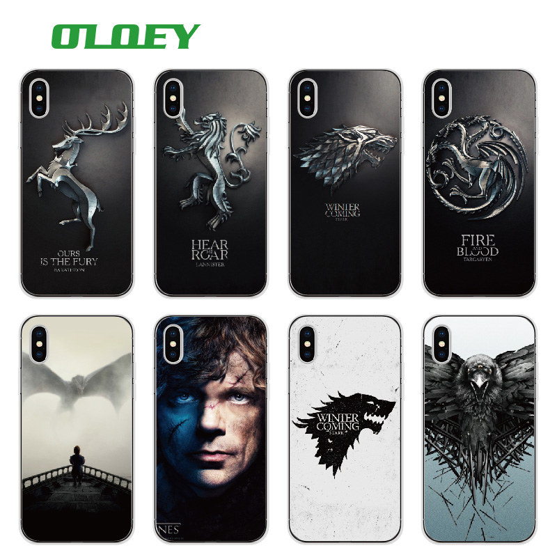 OLOEY <font><b>Game</b></font> Daenerys Drogon Jon Snow tyrion lannister <font><b>Thrones</b></font> Soft <font><b>Phone</b></font> <font><b>Case</b></font> Fundas For iPhone 7 7plus 6 6S 6Plus 5 8 8Plus X
