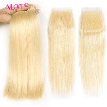 Alot Malaysian Blonde #613 Straight 3 Bundles With Closure 10''-28''Inch Remy Human Hair Weave With Closure 613 Straight Bundles(China)